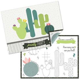 Prickly Cactus Party - Paper Fiesta Birthday Party Coloring Sheets - Activity Placemats - Set of 16