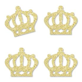 Gold Glitter Prince Crown - No-Mess Real Gold Glitter Cut-Outs - Royal Prince Charming Baby Shower or Birthday Party Confetti - Set of 24
