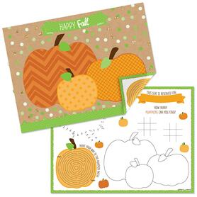 Pumpkin Patch - Paper Fall, Halloween or Thanksgiving Party Coloring Sheets - Activity Placemats - Set of 16