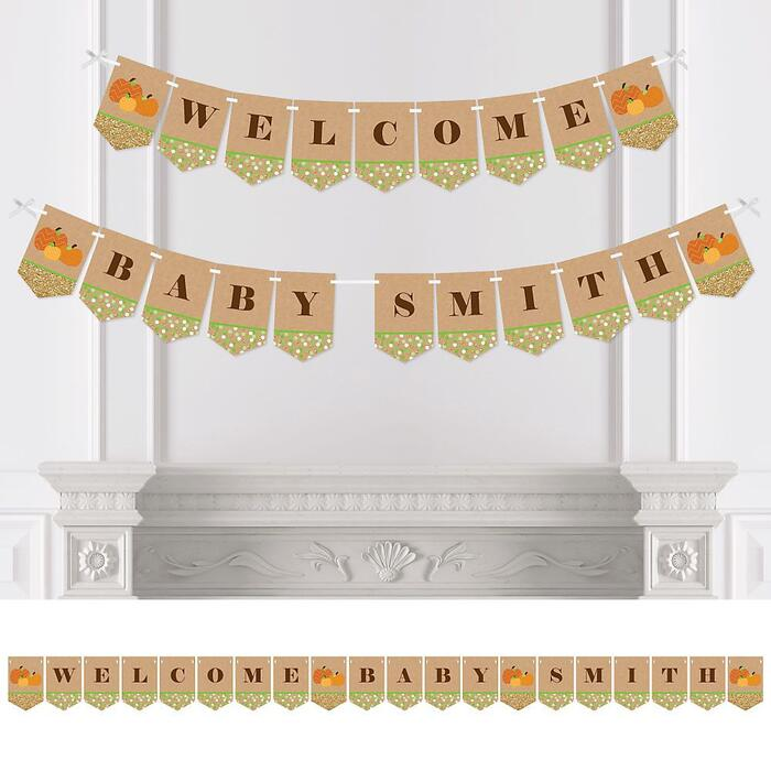 Personalized Pumpkin Patch - Custom Fall, Halloween or Thanksgiving Baby Shower Bunting Banner and Decorations - Welcome Baby Custom Name Banner