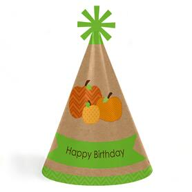 Pumpkin Patch - Fall, Halloween or Thanksgiving Cone Happy Birthday Party Hats for Kids and Adults - Set of 8 (Standard Size)