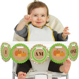 Pumpkin Patch 1st Birthday - I am One - First Birthday High Chair Banner