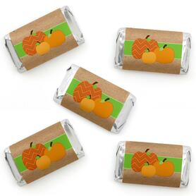 Pumpkin Patch - Mini Candy Bar Wrapper Stickers - Fall, Halloween or Thanksgiving Party Small Favors - 40 Count