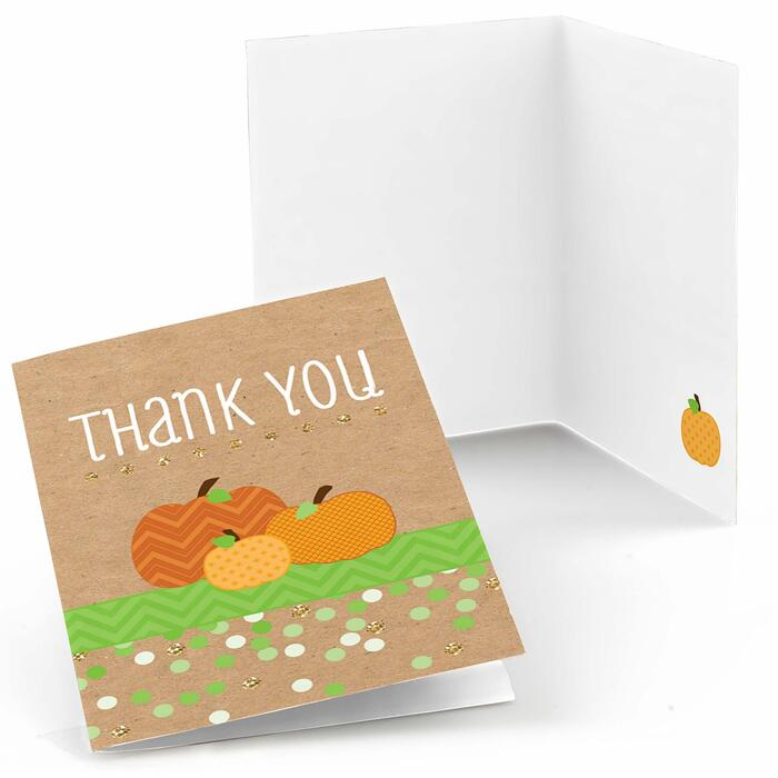 Pumpkin Patch - Fall, Halloween or Thanksgiving Party Thank You Cards - 8 ct