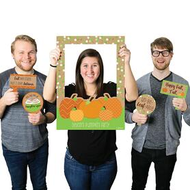 Pumpkin Patch - Personalized Fall, Halloween or Thanksgiving Party Selfie Photo Booth Picture Frame & Props - Printed on Sturdy Material