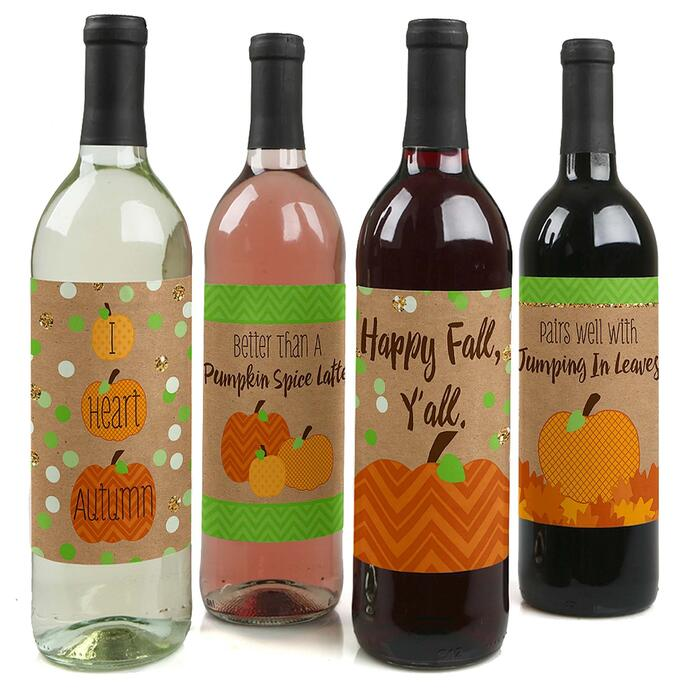 Pumpkin Patch - Fall, Halloween or Thanksgiving Party Decorations for Women and Men - Wine Bottle Label Stickers - Set of 4