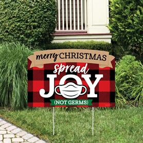 2020 Quarantine Christmas - Holiday Party Yard Sign Lawn Decorations - Merry Christmas Spread Joy Not Germs Party Yardy Sign