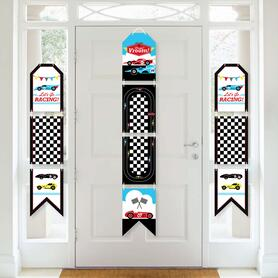 Let's Go Racing - Racecar - Hanging Vertical Paper Door Banners - Race Car Birthday Party or Baby Shower Wall Decoration Kit - Indoor Door Decor