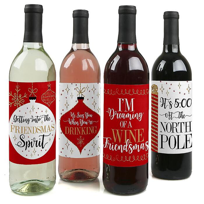Red and Gold Friendsmas - Friends Christmas Party Decorations for Women and Men - Wine Bottle Label Stickers - Set of 4
