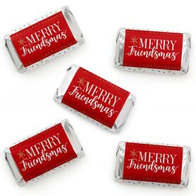 Red and Gold Friendsmas - Mini Candy Bar Wrapper Stickers - Friends Christmas Party Small Favors - 40 Count