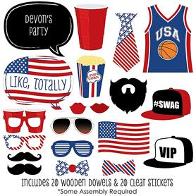 Red Party Cup - USA Patriotic - 20 Piece Photo Booth Props Kit