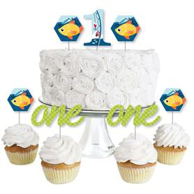 1st Birthday Reeling in the Big One - Dessert Cupcake Toppers - Fish First Birthday Party Clear Treat Picks - Set of 24
