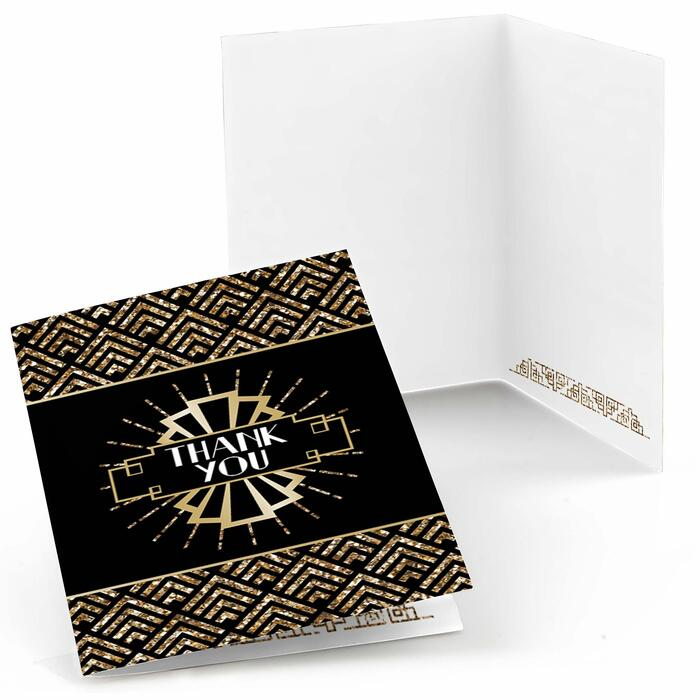 Roaring 20's - Set of 8 1920s Art Deco Jazz Party Thank You Cards - 2020 Graduation Party