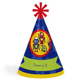 Robots - Personalized Cone Happy Birthday Party Hats for Kids and Adults - Set of 8 (Standard Size)