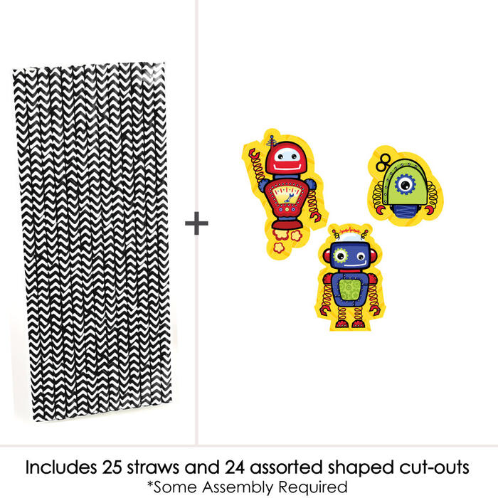 Robots - Paper Straw Decor - Baby Shower or Birthday Party Striped Decorative Straws - Set of 24
