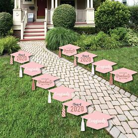 Rose Gold Grad - Grad Cap Lawn Decorations - Outdoor 2020 Graduation Party Yard Decorations - 10 Piece