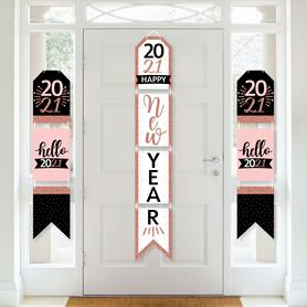 Rose Gold Happy New Year - Hanging Vertical Paper Door Banners - 2021 New Years Eve Party Wall Decoration Kit - Indoor Door Decor