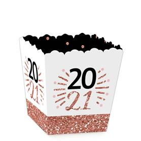 Rose Gold Happy New Year - Party Mini Favor Boxes - 2021 New Year's Eve Party Treat Candy Boxes - Set of 12