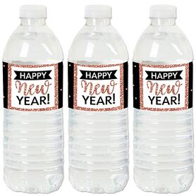 Rose Gold Happy New Year - New Year's Eve Party Water Bottle Sticker Labels - Set of 20