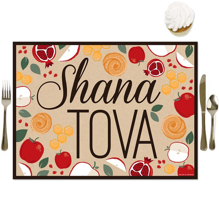 Rosh Hashanah - Party Table Decorations - Jewish New Year Placemats - Set of 16