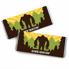 Sasquatch Crossing -  Candy Bar Wrapper Bigfoot Party or Birthday Party Favors - Set of 24