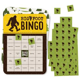Sasquatch Crossing - Bingo Cards and Markers - Bigfoot Party or Birthday Party Bingo Game - Set of 18