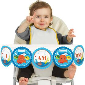 Under The Sea Critters 1st Birthday - I am One - First Birthday High Chair Banner