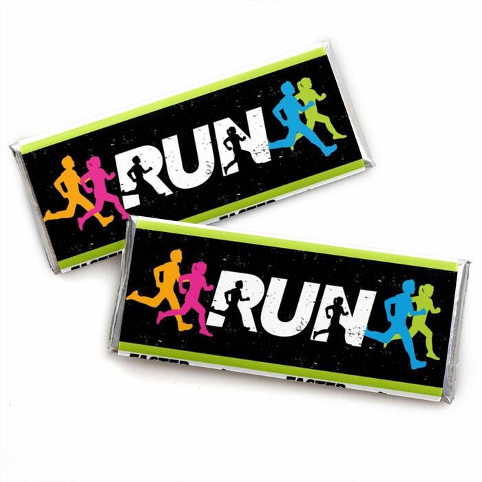 Set The Pace - Running -  Candy Bar Wrapper Track, Cross Country or Marathon Favors - Set of 24