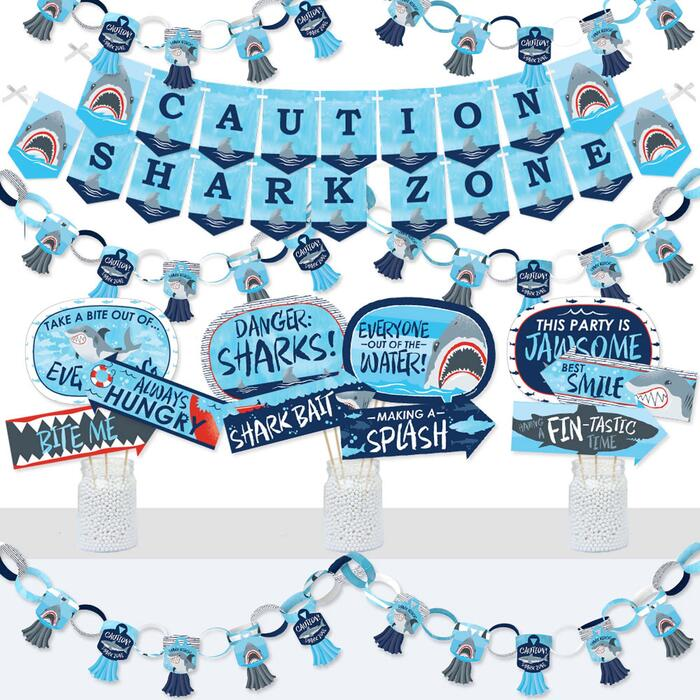 Shark Zone - Banner and Photo Booth Decorations - Jawsome Shark Party or Birthday Party Supplies Kit - Doterrific Bundle
