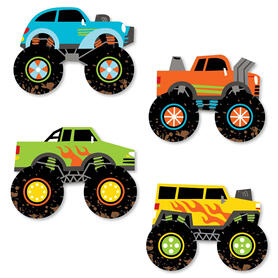 Smash and Crash - Monster Truck  - DIY Shaped Boy Birthday Party Cut-Outs - 24 Count