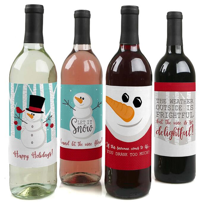Let It Snow - Snowman - Holiday & Christmas Party Decorations for Women and Men - Wine Bottle Label Stickers - Set of 4
