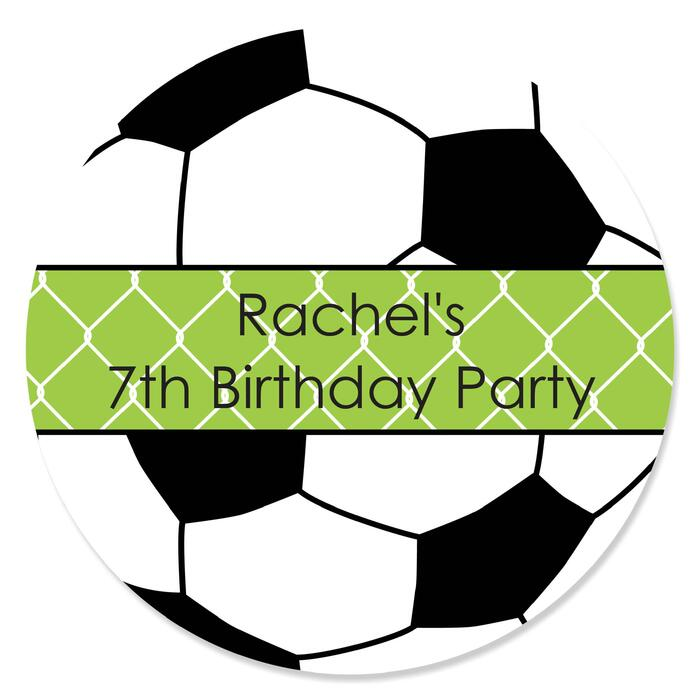 GOAAAL! - Soccer - Personalized Birthday Party Sticker Labels - 24 ct