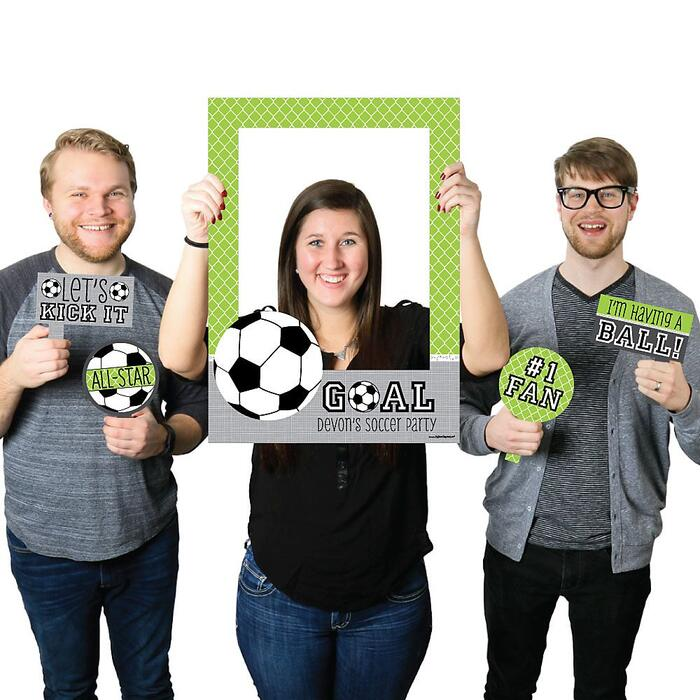 GOAAAL! - Soccer - Personalized Birthday Party or Baby Shower Selfie Photo Booth Picture Frame & Props - Printed on Sturdy Material