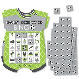 GOAAAL! - Soccer - Picture Bingo Cards and Markers - Baby Shower Shaped Bingo Game - Set of 18