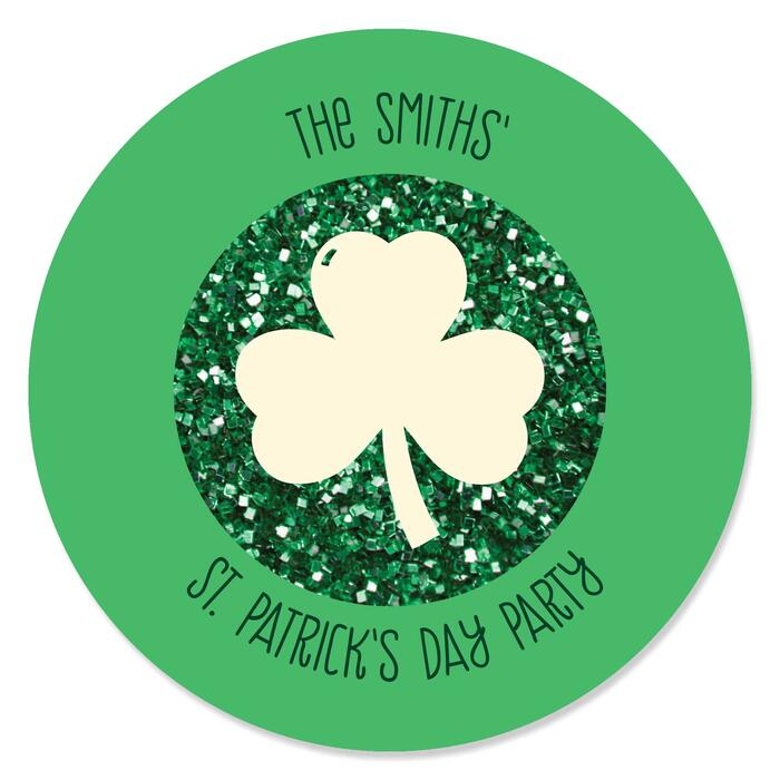 St. Patrick's Day - Personalized Saint Patty's Day Party Circle Sticker Labels - 24 ct
