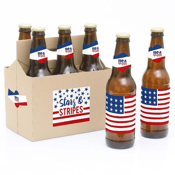 Stars & Stripes - Memorial Day, 4th of July and Labor Day USA Patriotic Party - Decorations for Women and Men - 6 Beer Bottle Label Stickers 1 Carrier