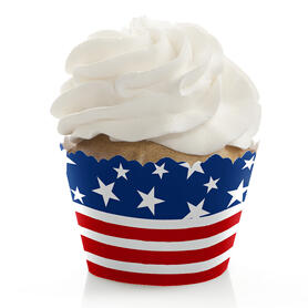 Stars & Stripes -  Memorial Day, 4th of July and Labor Day USA Patriotic Party Decorations - Party Cupcake Wrappers - Set of 12