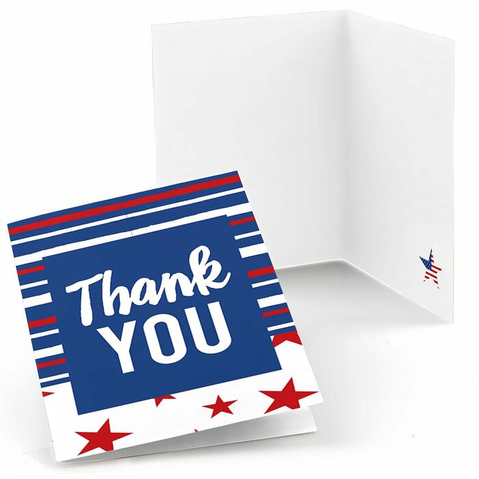 Stars & Stripes - Memorial Day, 4th of July and Labor Day USA Patriotic Party Thank You Cards - 8 ct