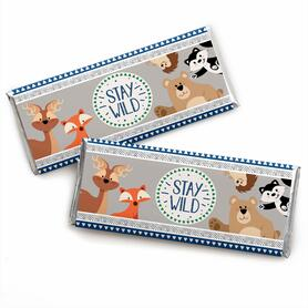 Stay Wild - Forest Animals -  Candy Bar Wrapper Woodland Baby Shower or Birthday Party Favors - Set of 24