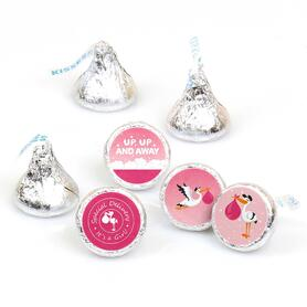 Girl Special Delivery - Pink Stork Baby Shower Round Candy Labels Party Favors - Fits Hershey's Kisses - 108 ct