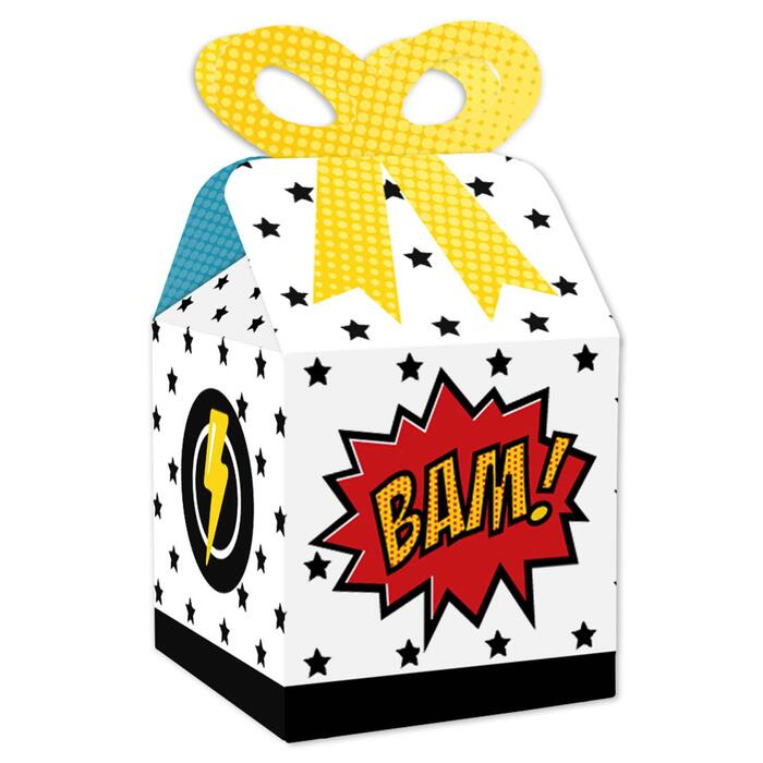 BAM! Superhero - Square Favor Gift Boxes - Baby Shower or Birthday Party Bow Boxes - Set of 12