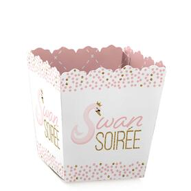 Swan Soiree - Party Mini Favor Boxes - White Swan Baby Shower or Birthday Party Treat Candy Boxes - Set of 12