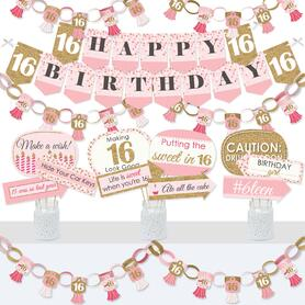 Sweet 16 - Banner and Photo Booth Decorations - 16th Birthday Party Supplies Kit - Doterrific Bundle