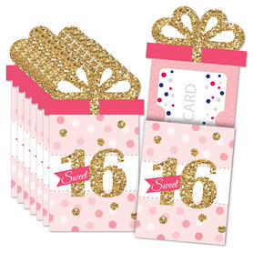 Sweet 16 - 16th Birthday Party Money and Gift Card Sleeves - Nifty Gifty Card Holders - Set of 8