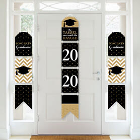 Tassel Worth the Hassle - Gold - Hanging Vertical Paper Door Banners - 2020 Graduation Party Wall Decoration Kit - Indoor Door Decor