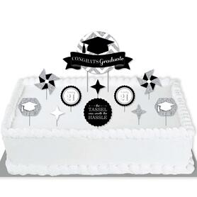 Tassel Worth The Hassle - Silver - 2021 Graduation Party Cake Decorating Kit - Congrats Graduate Cake Topper Set - 11 Pieces