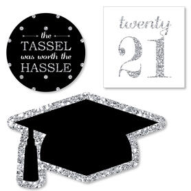 Tassel Worth The Hassle - Silver - DIY Shaped 2021 Graduation Party Paper Cut-Outs - 24 ct