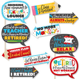 Funny Teacher Retirement - Happy Retirement Party Photo Booth Props Kit - 10 Piece