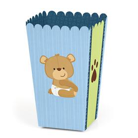 Baby Boy Teddy Bear - Baby Shower Favor Popcorn Treat Boxes - Set of 12