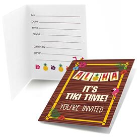 Tiki Luau - Set of 8 Fill In Tropical Hawaiian Summer Party Invitations